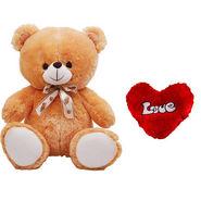 5 Feet Teddy Bear with Heart Shape Pillow - Brown