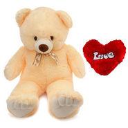3 Feet Teddy Bear with Heart Shape Pillow - Cream