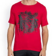 Incynk Half Sleeves Printed Cotton Tshirt For Men_Mht201r - Red