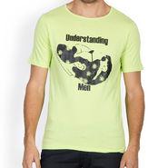 Incynk Half Sleeves Printed Cotton Tshirt For Men_Mht206p - Pista
