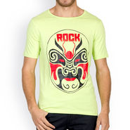 Incynk Half Sleeves Printed Cotton Tshirt For Men_Mht214p - Pista