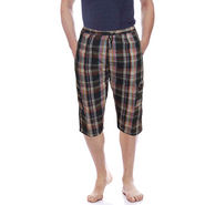 Delhi Seven Cotton Checks Capri For Men_D7Cg012 - Multicolor