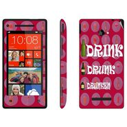 Snooky 28157 Digital Print Mobile Skin Sticker For HTC 8X C620E - Pink