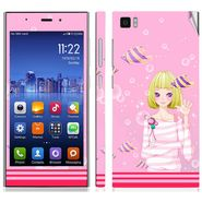 Snooky 39192 Digital Print Mobile Skin Sticker For Xiaomi Mi3 - Pink