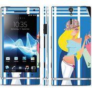 Snooky 39695 Digital Print Mobile Skin Sticker For Sony Xperia S - Blue