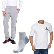 Combo of Plain Regular Fit Cotton Lower + Tshirt + Socks_Fl1wt02