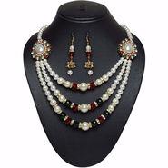 Pourni Pearl & Color Stone Necklace Set _Pnk650