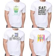 Pack of 4 Oh Fish Graphic Printed Cotton Tshirts_Combo2 - White