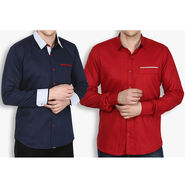 Pack of 2 Stylox Cotton Shirts_2427 - Maroon & Navy
