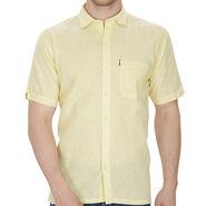 Fizzaro Plain Half Sleeves Stylish Shirt For Men_Fzls110 - Yellow