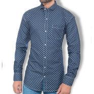 Branded Denim Cotton Shirt_Gkds14 - Blue