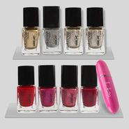 Beauty Combo Of 8 Shades Nailpaint with Face Massager