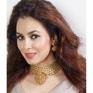 Kriaa Mithya Design Choker Gold Pink & White Kundan Necklace Set_2000516