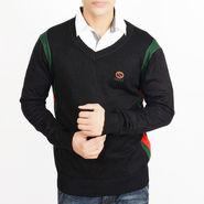 Full Sleeves Cotton Sweater For Men - Black