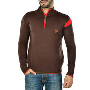 Full Sleeves Cotton Sweater For Men - Brown