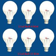 Home Pro Combo Of 6 Led Bulb 9 Watt & 12 Watt