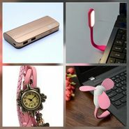 Combo of Zync (PB999 Elegant 10400 mAh Powerbank+ Watch + USB LED Light + USB Fan) - Golden