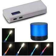 Combo of VIZIO 10000 mAh Power Bank + 1 Bluetooth Speaker, + 5 USB LED Lights
