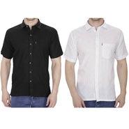 Pack of 2 Fizzaro Plain Linen Casual Shirts_Fz104105 - Black & White