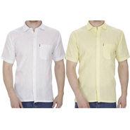 Pack of 2 Fizzaro Plain Linen Casual Shirts_Fz105110 - White & Yellow