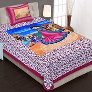 Priya Fashions Cotton King Size Jaipuri Printed 1 Single Bedsheets With 1 Pillow Covers-70X100B8