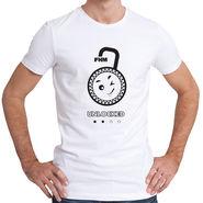 FHM Round Neck Half Sleeves Printed Tshirt_Fhmtmu1 - White