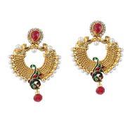 Kriaa Finish Peacock Austrian Stone Pearl Earrings_1303771