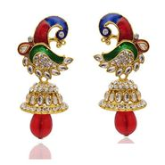 Kriaa Austrian Stone Peacock Design Kundan Earrings   _1304805