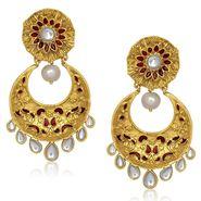 Kriaa Meenakari Kundan Pearl Chandbali Finish Earrings _1305434