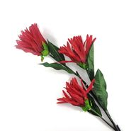 Importwala three Headed Artificial flower stick Red -1401-0306