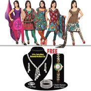 Rachana 5 Designer Printed Dress Material + Free Stunning CZ Diamond Jewellery with Watch