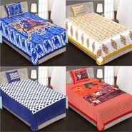 Priya Fashions Cotton King Size Jaipuri Printed 4 Single Bedsheets With 4 Pillow Covers-70X100B4C4