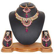 Vendee Fashion Kundan Pretty Necklace Set - Pink _ 8476