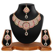 Vendee Fashion Kundan Bridal Necklace Set - Pink & Green _ 8514