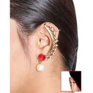 Vendee Fashion Traditional Ear Cuffs - Golden & Red _ 8556
