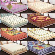 Set of 8 King Size Cotton Jaipuri Sanganeri Printed Bedsheets With 16 Pillow Covers-X108C4