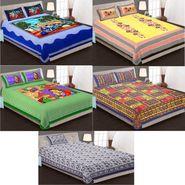 Priya Fashions Cotton King Size Jaipuri Printed 4 Double 1 Single Bedsheets With 9 Pillow Covers-90X108B5C1