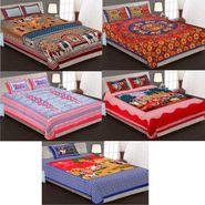 Priya Fashions Cotton King Size Jaipuri Printed 4 Double 1 Single Bedsheets With 9 Pillow Covers-90X108B5C2