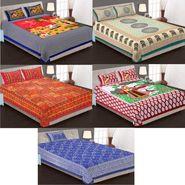 Priya Fashions Cotton King Size Jaipuri Printed 4 Double 1 Single Bedsheets With 9 Pillow Covers-90X108B5C3