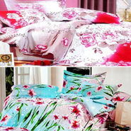 Set Of 2 4D Printed Double Bed Sheet  With 4 Pillow Cover -AG-010_013