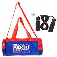 Combo of Protoner Gym Bag - Installing Muscles Please Wait With Skipping Rope