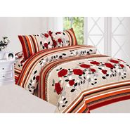 Carah Multicolour Floral Bedsheet With Two Pillow Covers-CRH-DB173