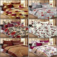 Set of 6 100% Cotton Double Bedsheet With 12 Pillow Cover - CN_12-03-33-56-61-64-1407