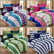 Set of 4 100% Cotton Double Bedsheet With 8 Pillow Cover  - CN_12-31-37-68-1402