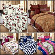Set of 5 100% Cotton Double Bedsheet With 10 Pillow Cover - CN_12-33-64-68-1402-1407
