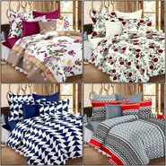 Set of 4 100% Cotton Double Bedsheet With 8 Pillow Cover  - CN_12-53-64-1402-1407