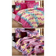 Set Of 2 Double Bedsheet With 4 Pillow Cover-CN_1222-CN1205