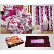 Combo of 100% Cotton Double Bedsheet, Blanket, Curtain Set & Door Mat-CN_1243