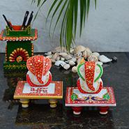 Set of 2 eCraftIndia Marble Ganesha Chowki - Multicolor