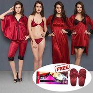 Set Of 8 Clovia Satin Solid Nightwear_NSM292P09